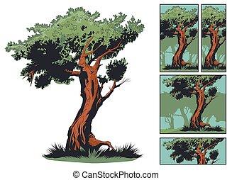 illustration., 木, 隔離された, バックグラウンド。, 白, 株