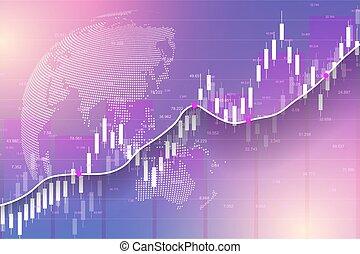 illustration., 株, ビジネス, ベクトル, 市場, 投資, exchange., bullish, スティック, graph., trading., チャート, グラフ, data., ろうそく, ポイント, 傾向