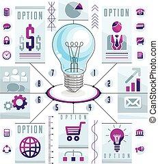illustration., 概念, ライト, 考え, ベクトル, infographics, 電球, テンプレート