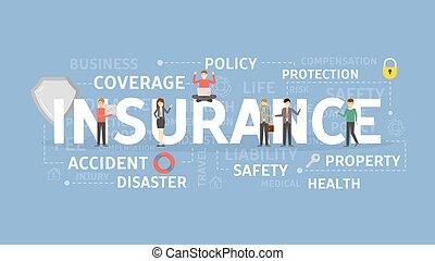 illustration., 概念, 保険