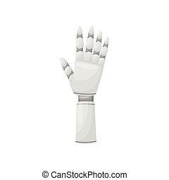 illustration., 機器人, 手, 背景。, 矢量, 鐵, 白色