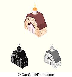 illustration., 正統, コレクション, ベクトル, イラスト, 教会, チャペル, logo., 株