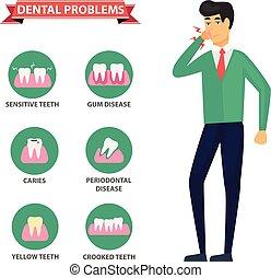 illustration., 歯医者の, -, infographics.vector, ベクトル, 健康, 問題,...