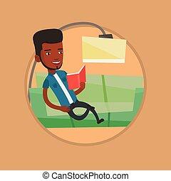 illustration., 沙发, 矢量, 读书, 人