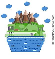 illustration., 滝, 平ら, デザイン, lake., postcard., 山の景色
