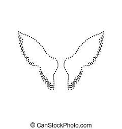 illustration., 点を打たれた, isolated., 印, バックグラウンド。, 黒, vector., 白, 翼, アイコン