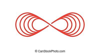 illustration., 無限点, 平ら, 赤い白, バックグラウンド。, スタイル, ベクトル, イラスト