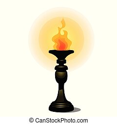 illustration., 燃焼, 源, 型, トーチ, 隔離された, floor., 表面仕上げ, バックグラウンド。, ベクトル, 立ちなさい, ライト, 白