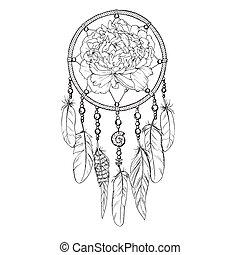 illustration., 牡丹, dreamcatcher, contour., 手, 矢量, 装饰华丽, 画, 蓓蕾