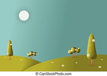 illustration., 牧草地, ベクトル, 風景