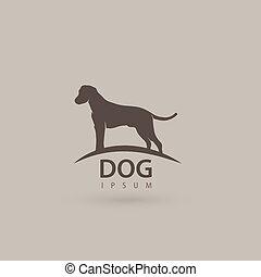 illustration., 犬, silhouette., 定型, ベクトル, 芸術的, 動物, ロゴ, design.