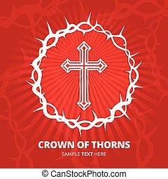 illustration., 王冠, 交差点, バックグラウンド。, ベクトル, とげ, 赤