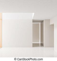 illustration., 現代, walls., バックグラウンド。, 明るい, ブランク, 内部, 白, 3d, 空 部屋