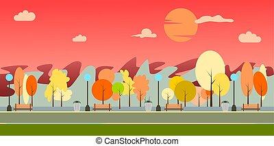 illustration., 矢量, 自然, 城市公園, 夏天