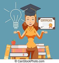 illustration., 矢量, 証書。, 學習, 職業, 學生, 畢業, 婦女, 畢業生, 教育, 女孩, 機會, diploma., 卡通, 字, 學院, 未來, 大學