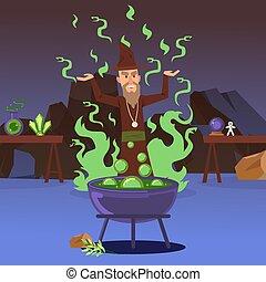 illustration., 矢量, 鑄件, fairytale, 邪惡, magic., 煉金術士, 魔藥, 卡通, 巫術師, 中世紀, sorcerer, 大鍋, 沸騰, warlock, 險惡, 咒語, 字, 強大