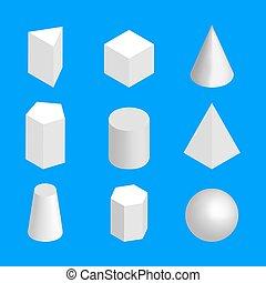 illustration., 等大, 単純である, ベクトル, 数字, 幾何学的