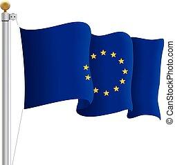 illustration., 組合, flag., 隔離された, 振ること, バックグラウンド。, 旗, ベクトル, eu, 白, ヨーロッパ