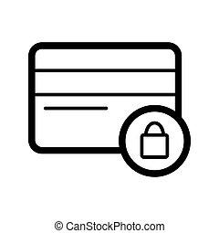 illustration., 線である, 錠, アウトライン, クレジット, ベクトル, 黒, icon., 白, カード, 安全である