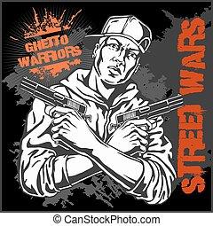 illustration., 背景。, 戰士, 匪徒, 矢量, graffiti, 骯髒, 集中居住區