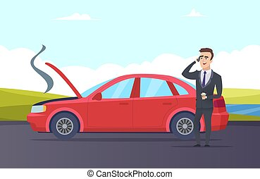 illustration., 自動車, ベクトル, 必要性, breakdown., サービス道, 漫画, 援助, ビジネスマン, 修理