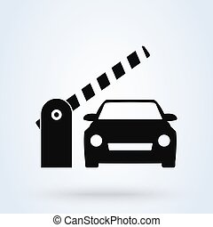 illustration., 自動車, ベクトル, 障壁, デザイン, gate., 単純である, アイコン, ...