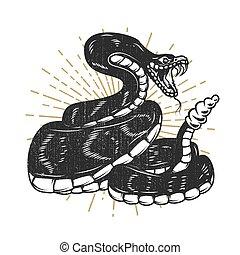 illustration., 要素, ヘビ, デザイン, 紋章, ポスター, shirt., 毒蛇, t, 印