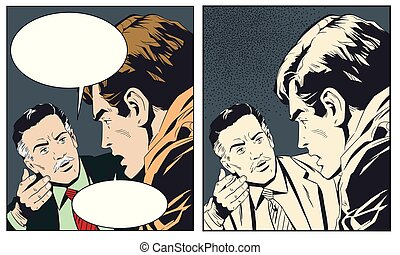 illustration., 話し。, 男性, 2, 株