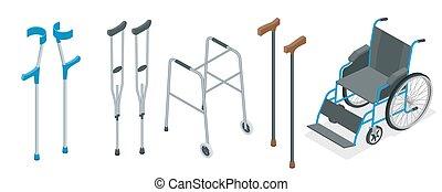 illustration., 車椅子, concept., 歩行者, ベクトル, 心配, 可動性, 松葉ずえ, crutches., 健康, セット, 杖, 等大, 含む, 前腕, 手助け, クォード