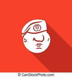 illustration., 軍隊, ベレー帽, くり色, ベクトル, 赤, 力, ロシア人, 軍, icon., 特別