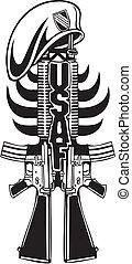 illustration., 軍隊, -, 私達, ベクトル, デザイン, 軍
