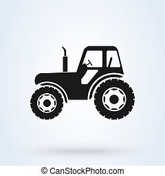 illustration., 農場, ベクトル, 農業, 側, トラクター, 光景