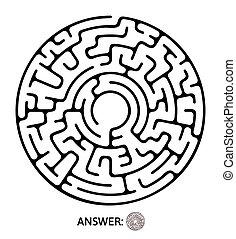 illustration., 迷宮, 難題, 游戲, 矢量, 黑色, maze., 輪