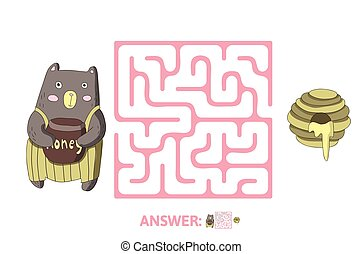 illustration., 迷路, 困惑, 熊, 子供たちのゲーム, ベクトル, honey., 迷路, 子供