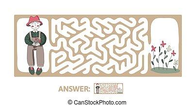 illustration., 迷路, 困惑, flowers., 子供たちのゲーム, ベクトル, 迷路, 子供, 庭師