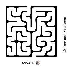 illustration., 迷路, 子供, 困惑, 子供たちのゲーム, ベクトル, maze.
