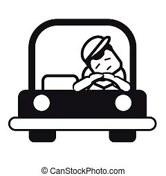 illustration., 運転, 疲れた, 眠い, 若い, ベクトル, 車。, 人