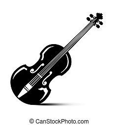 illustration., 道具, ベクトル, 黒, バイオリン, icon., ミュージカル