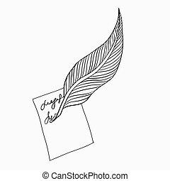 illustration., 道具, 執筆, ベクトル, 羽, icon.