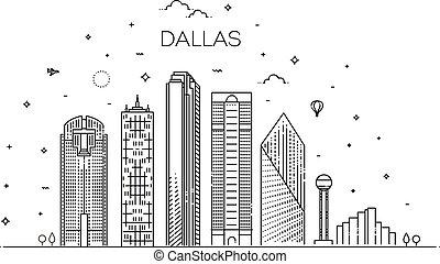 illustration., 都市の景観, テキサス, ベクトル, ダラス, 有名, 線, ランドマーク, スカイライン, 線である, 建築