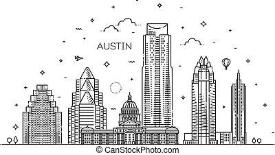 illustration., 都市の景観, ベクトル, 有名, 線, ランドマーク, スカイライン, 線である, オースティン, 建築