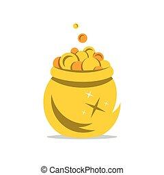 illustration., 金子, 钱, 罐, 矢量, 卡通漫画