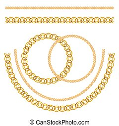 illustration., 鎖, パターン, seamless, バックグラウンド。, ベクトル, 金の宝石類