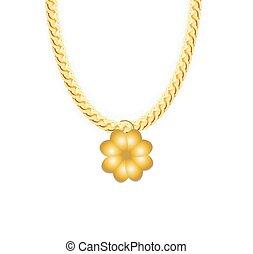 illustration., 鎖, ベクトル, 4リーフの, whith, 金, clover., 宝石類