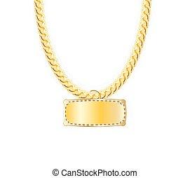illustration., 鎖, pendants., ベクトル, whith, 金の宝石類