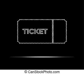 illustration., 隔離された, バックグラウンド。, ベクトル, 黒, 白, 切符, アイコン