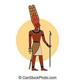 illustration., 隔離された, amon-ra, 神, エジプト人, 古代, ベクトル, 有色人種