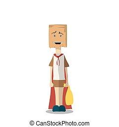 illustration., 面白い, costume., かわいい, ベクトル, 男の子