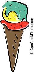illustration., 顏色, 冰, 矢量, 圓錐, 奶油, 或者, 上色