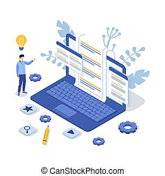 illustration., 顧客, man., サポート, ベクトル, faq., 概念, 等大, us., 連絡, ラップトップ